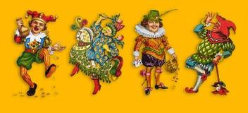 Quatre jokers de carte sur un fond jaune illustration libre de droits
