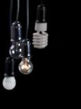 Quatre lampes électriques accrochantes sur le noir Image stock