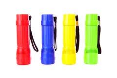 Quatre lampes-torches colorées Image stock