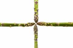 Quatre lances d'asperge se réunissant au milieu Photos stock
