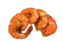 Quatre le grand Roi Size Grilled Shrimps sur le fond d'isolement par blanc photographie stock