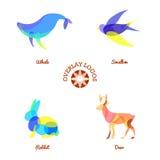 Quatre logos animaux de recouvrement différent d'isolement sur le fond, la baleine, les cerfs communs, le lapin et l'hirondelle b illustration de vecteur