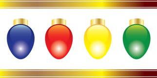 Quatre lumières de Noël lumineuses Photo stock