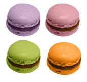 Quatre macarons français, d'isolement Photo stock
