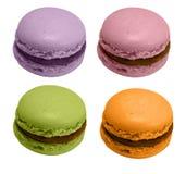 Quatre macarons français, d'isolement Photo stock