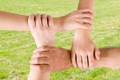 Quatre mains jointives ensemble Photographie stock libre de droits