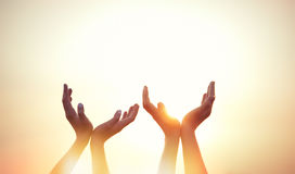 Quatre mains sur le coucher du soleil Photos libres de droits