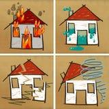 Quatre maisons et désastres Photos stock
