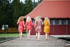 Quatre meilleurs amis ayant l'amusement au lac Photographie stock