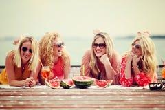 Quatre meilleurs amis riant et ayant le faune au lac Image stock