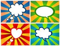 Quatre milieux abstraits avec des boîtes de message sans texte Image stock
