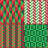 Quatre modèles geomatric abstraits sans couture de Noël de pixel illustration de vecteur