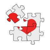 Quatre morceaux de puzzle avec un coeur là-dessus, le coeur brisé, illustration de vecteur sur un blanc Photographie stock libre de droits
