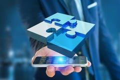 Quatre morceaux de puzzle faisant un logo sur une interface futuriste - 3d Photo libre de droits