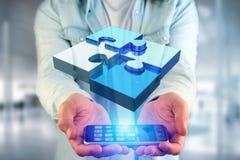 Quatre morceaux de puzzle faisant un logo sur une interface futuriste - 3d Photographie stock
