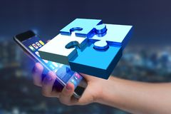 Quatre morceaux de puzzle faisant un logo sur une interface futuriste - 3d Photographie stock libre de droits