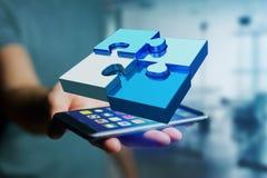 Quatre morceaux de puzzle faisant un logo sur une interface futuriste - 3d Photos stock