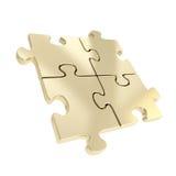 Quatre morceaux denteux liés de puzzle d'isolement Image libre de droits