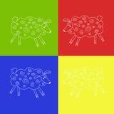 Quatre moutons blancs à un arrière-plan lumineux multicolore Photo libre de droits