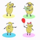 Quatre moutons d'isolement de bande dessinée Images libres de droits