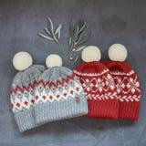 Quatre ont tricoté les chapeaux deux gris et le hibou rouge avec un modèle de jacquard sur un fond gris Image libre de droits