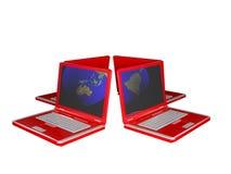 Quatre ordinateurs portatifs rouges Images libres de droits