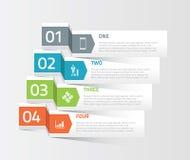 Quatre origamis empaquettent le vec infographic d'éléments d'option Images libres de droits