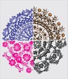 Quatre ornements de bloc-manettes de fleur Image stock