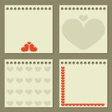 Quatre papiers de note avec des coeurs. Photographie stock libre de droits