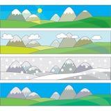 Quatre paysages de saisons Images libres de droits