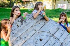 Quatre petites filles soufflant des bulles en parc photo libre de droits