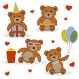 Quatre petits animaux d'ours drôles de bande dessinée Image stock