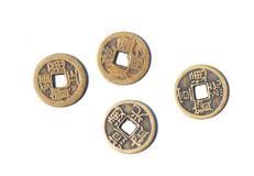 Quatre pièces de monnaie en cuivre antiques chinoises Photographie stock libre de droits