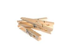 Quatre pinces à linge en bois Image stock