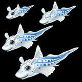 Quatre poissons blancs tropicaux sur un fond noir illustration libre de droits