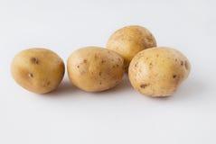 Quatre pommes de terre crues au-dessus du fond blanc Photos libres de droits