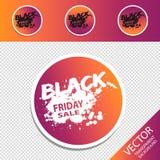 Quatre rétros boutons ronds colorés de vente de Black Friday - illustration de vecteur - d'isolement sur le fond transparent illustration libre de droits