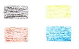 Quatre rayures colorées, dessinant avec la craie Images libres de droits