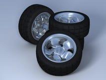 Quatre roues avec des pneus Photos stock