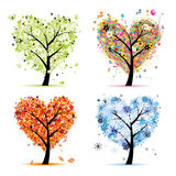 Quatre saisons. Forme de coeur d'arbre d'art illustration stock