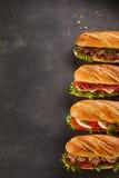 Quatre sandwichs à épicerie avec l'espace de copie photographie stock libre de droits