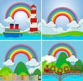 Quatre scènes avec l'arc-en-ciel illustration libre de droits
