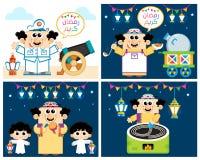 Quatre scènes de bande dessinée d'Egypte pendant le Ramadan illustration stock