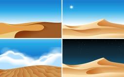 Quatre scènes de fond des déserts à différentes heures illustration de vecteur