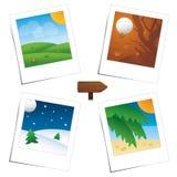 Quatre scènes du polaroïd de saisons illustration libre de droits