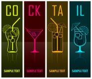 Quatre silhouettes de cocktail sur l'obscurité Photos libres de droits