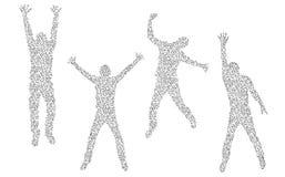 Quatre silhouettes faites de molécules Photo stock