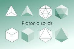 Quatre solides platoniques Illustration sacrée de vecteur de la géométrie illustration de vecteur