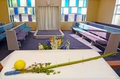 Quatre symboles d'espèces des vacances juives Sukkot dans une synagogue Photographie stock