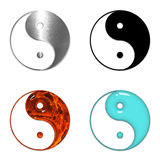 Quatre symboles de yang de yin d'isolement sur le blanc Photos stock